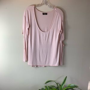 Nasty Gal Pale Pink Elbow Cutout Long Sleeve Tee